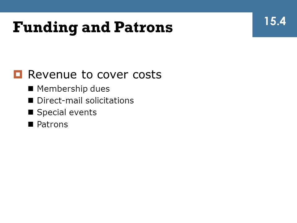 Funding and Patrons 15.4 Revenue to cover costs Membership dues