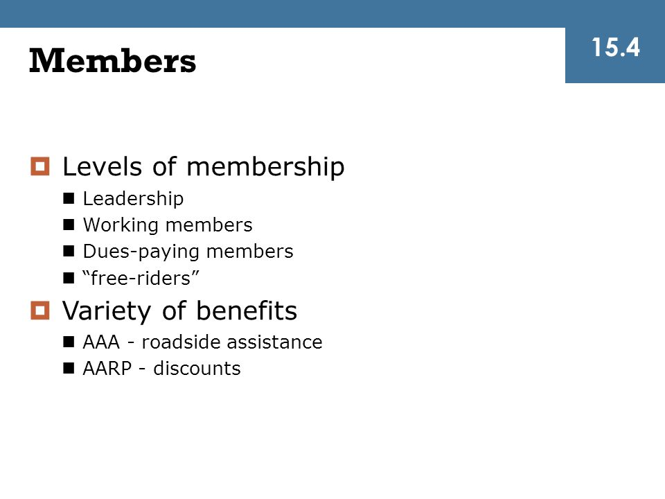 Members 15.4 Levels of membership Variety of benefits Leadership