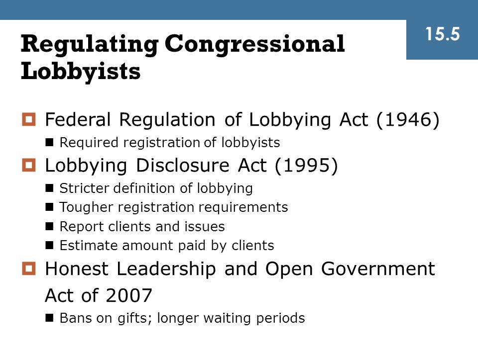 Regulating Congressional Lobbyists