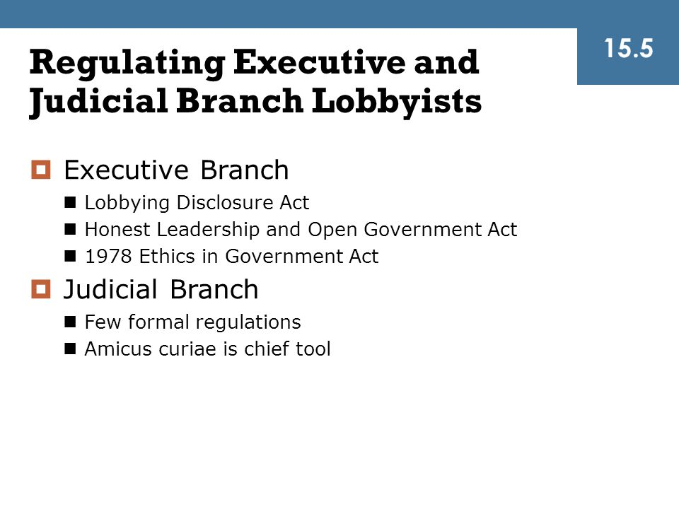 Regulating Executive and Judicial Branch Lobbyists