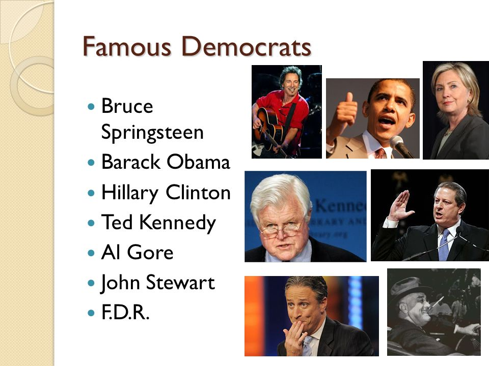 Famous Democrats Bruce Springsteen Barack Obama Hillary Clinton