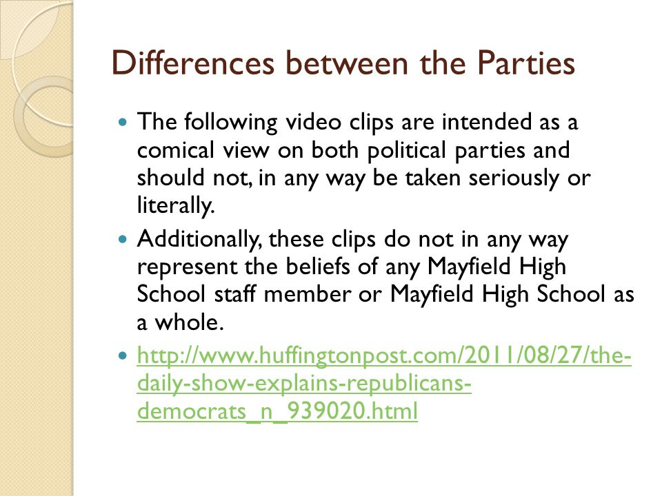 Differences between the Parties