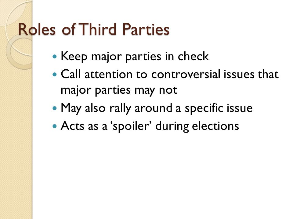 Roles of Third Parties Keep major parties in check