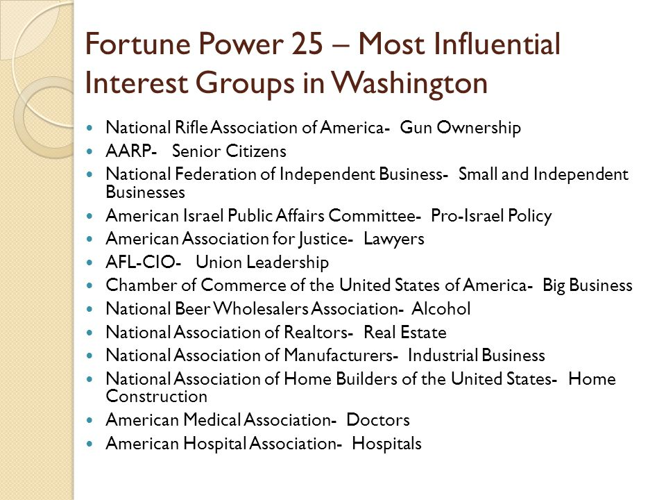 Fortune Power 25 – Most Influential Interest Groups in Washington