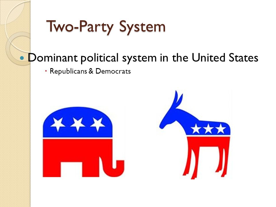 Two-Party System Dominant political system in the United States