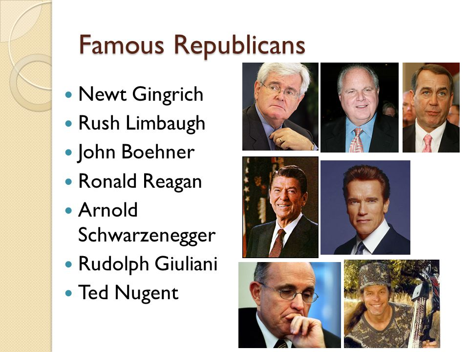 Famous Republicans Newt Gingrich Rush Limbaugh John Boehner