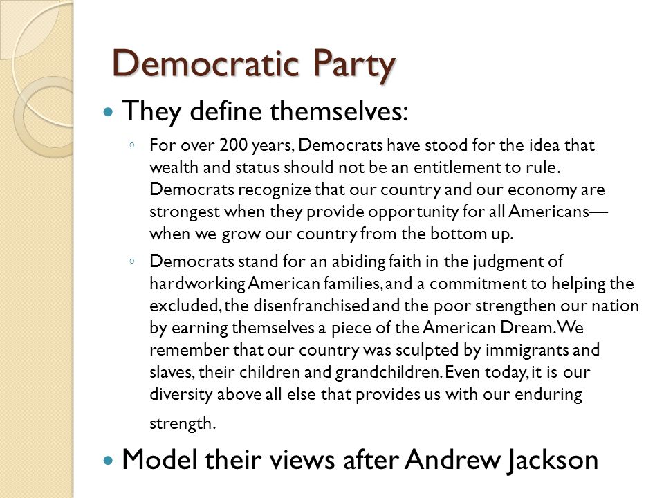 Democratic Party They define themselves: