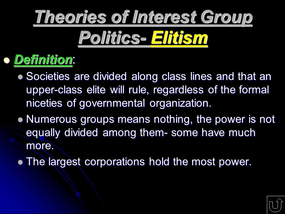 elitism and institutional power Lasswell went on to extrapolate that the elite are the primary holders of political  power he then anchored his well-received thesis on the.