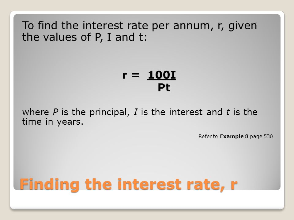 Finding the interest rate, r