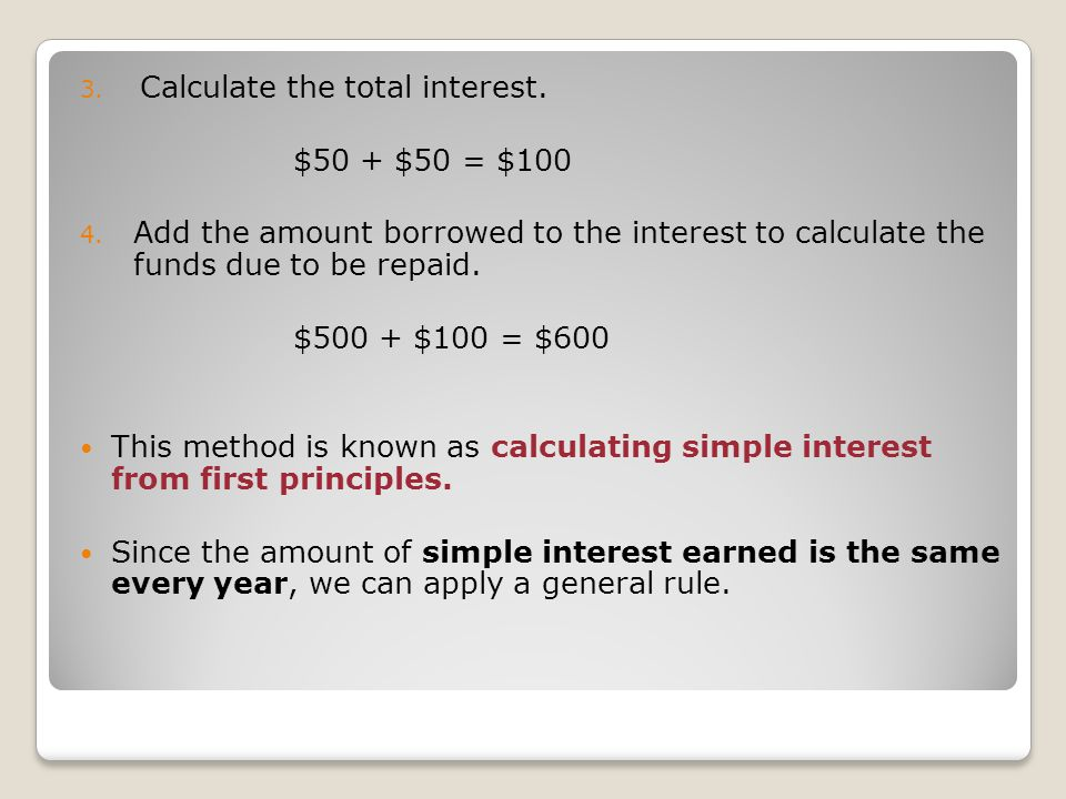 Calculate the total interest.