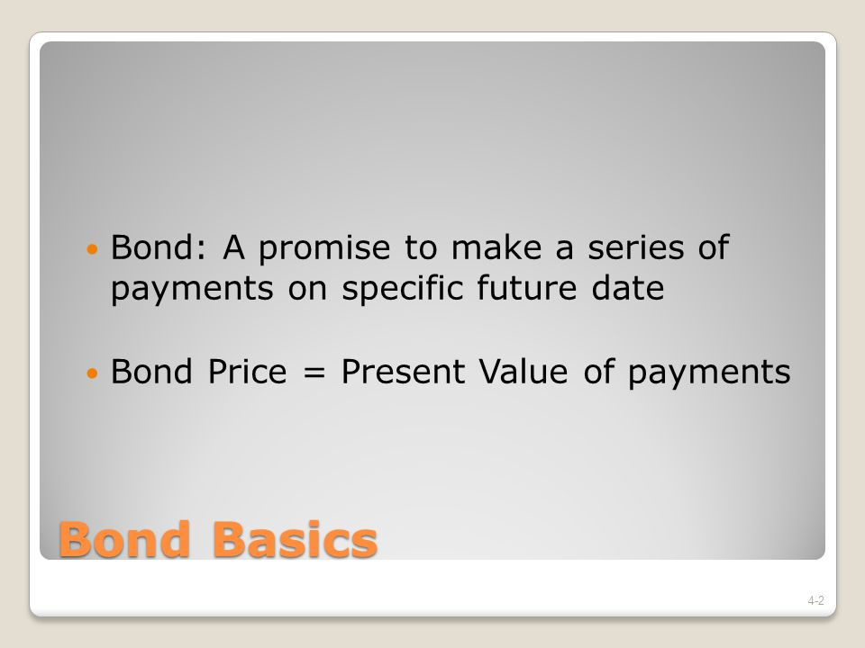 Bond: A promise to make a series of payments on specific future date