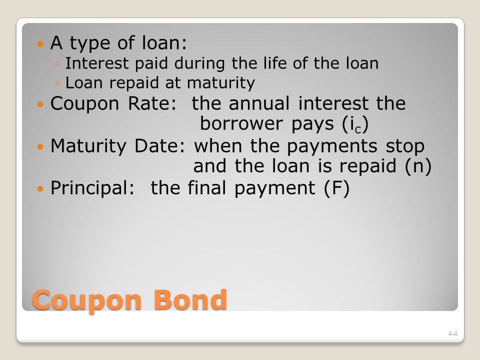 Coupon Bond A type of loan: