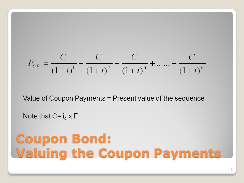 Coupon Bond: Valuing the Coupon Payments