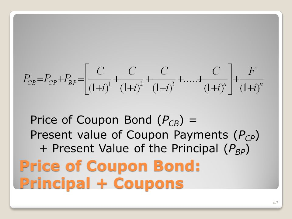 Price of Coupon Bond: Principal + Coupons
