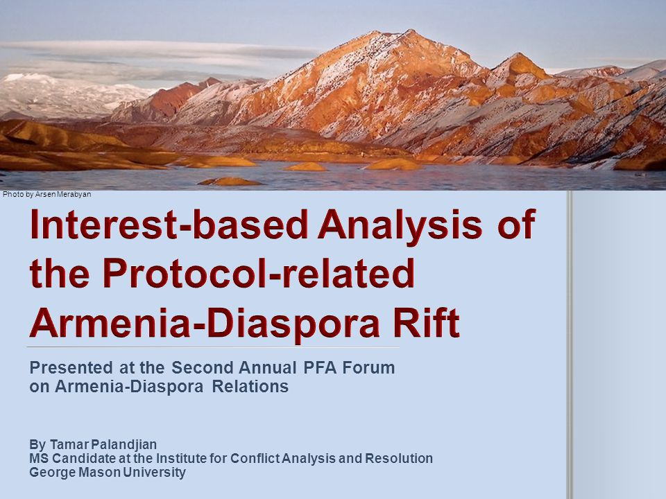 Interest-based Analysis of the Protocol-related Armenia-Diaspora Rift