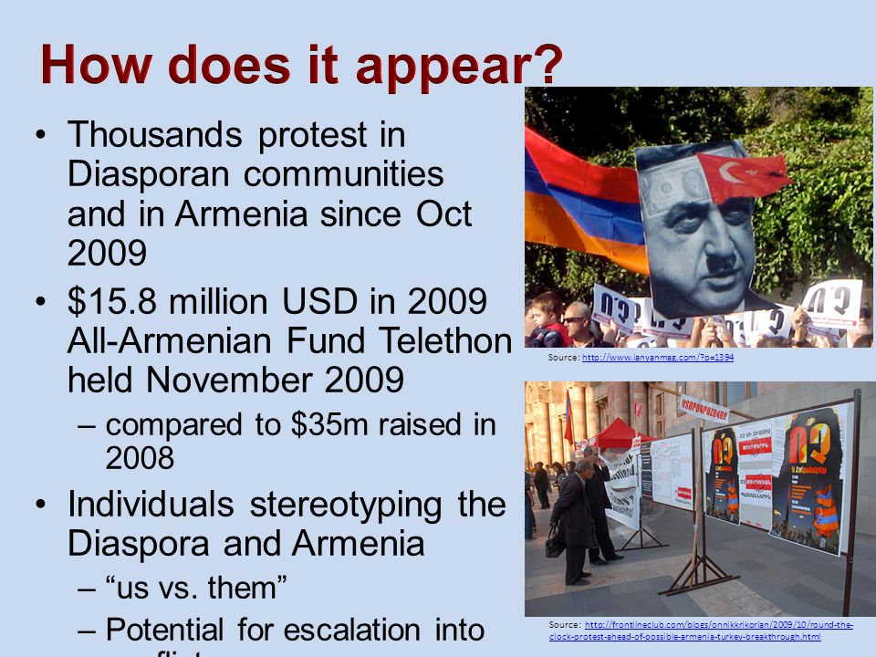 How does it appear Thousands protest in Diasporan communities and in Armenia since Oct 2009.