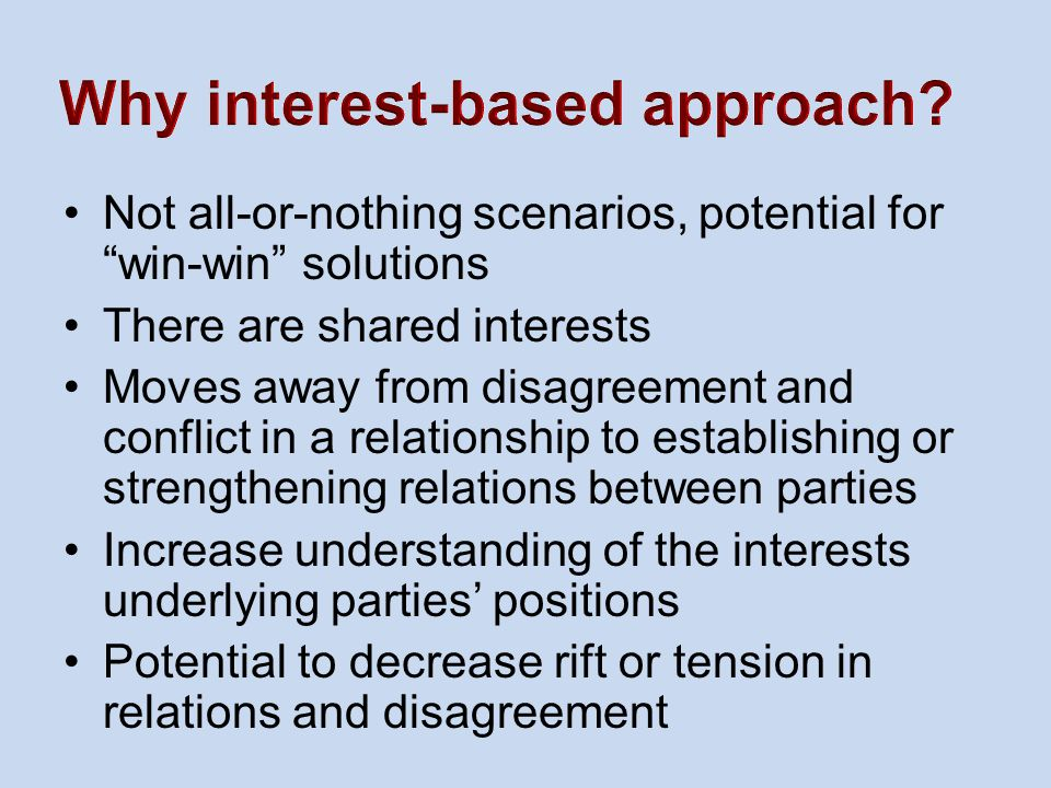 Why interest-based approach