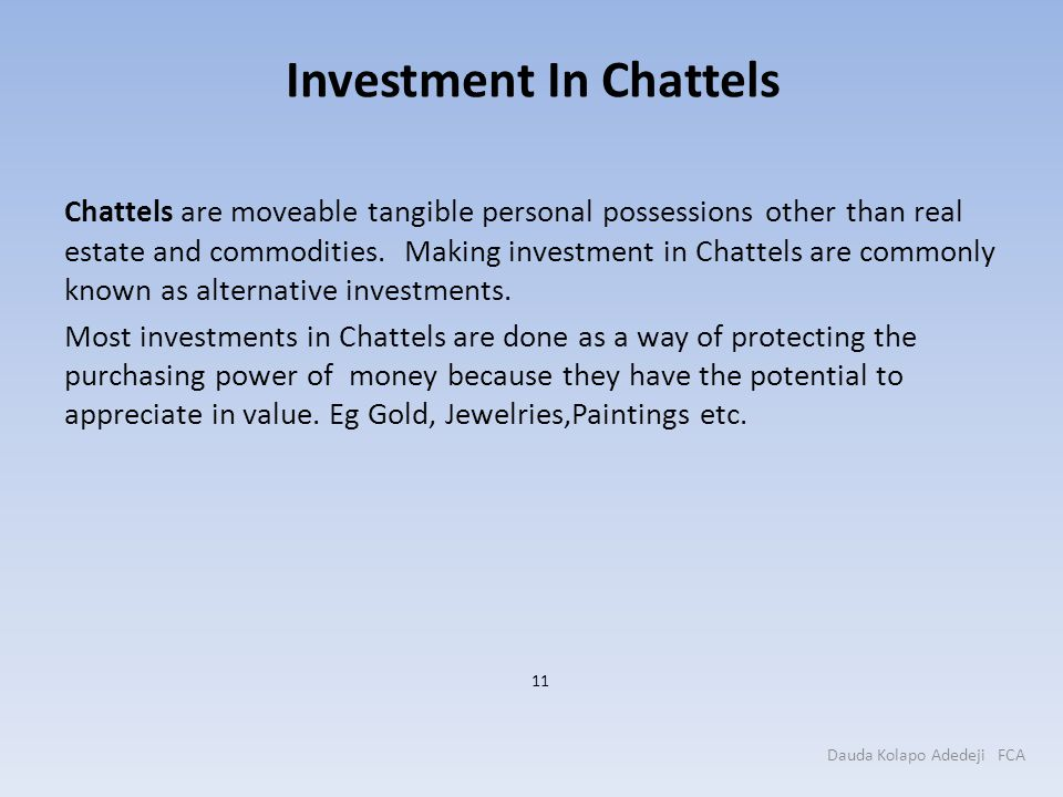 Investment In Chattels