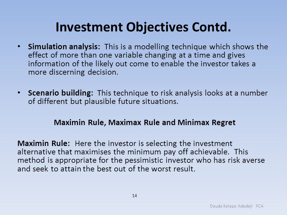 Investment Objectives Contd.