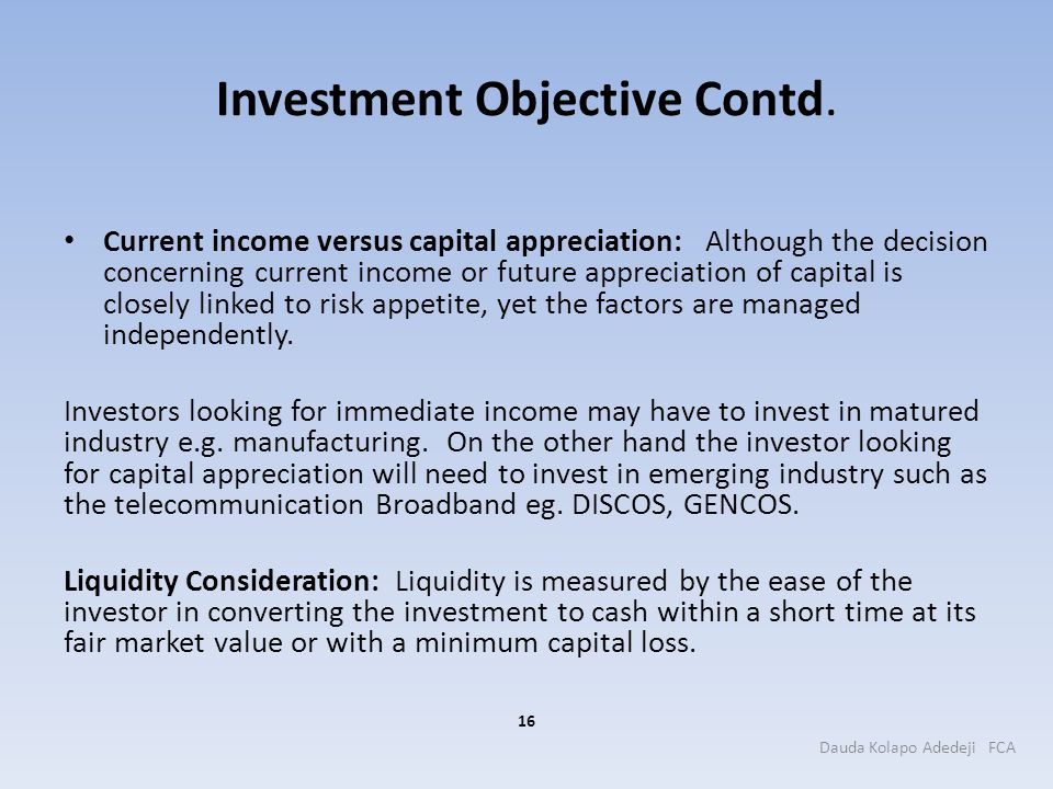Investment Objective Contd.