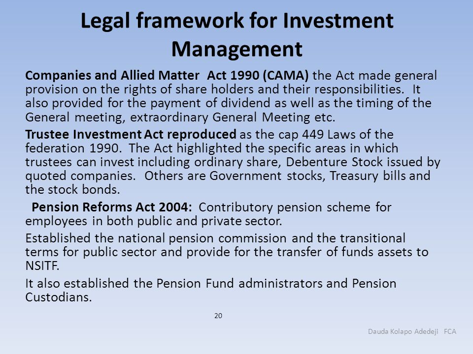 Legal framework for Investment Management