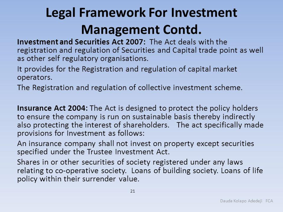 Legal Framework For Investment Management Contd.