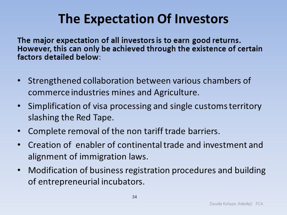 The Expectation Of Investors