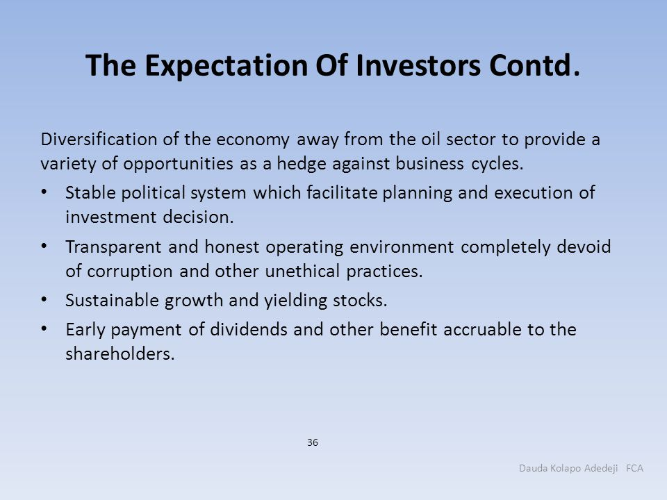The Expectation Of Investors Contd.