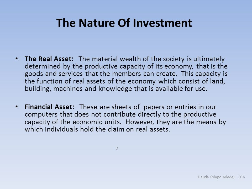 The Nature Of Investment
