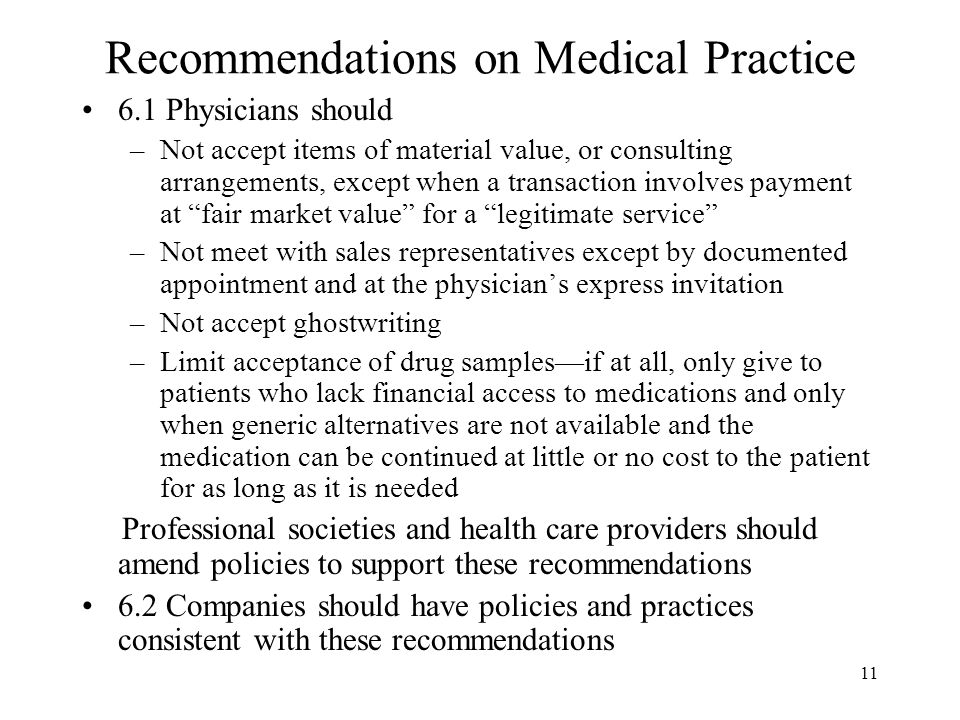 Recommendations on Medical Practice