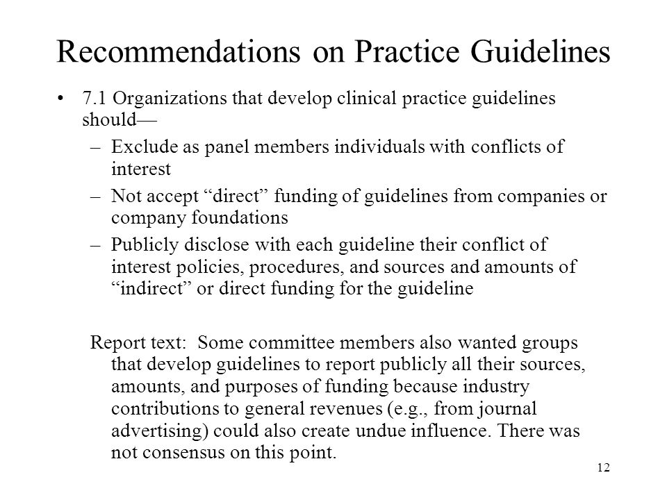 Recommendations on Practice Guidelines