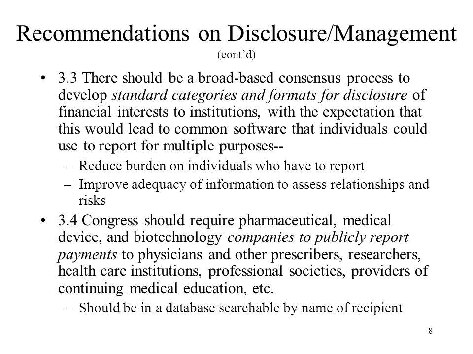 Recommendations on Disclosure/Management (cont'd)