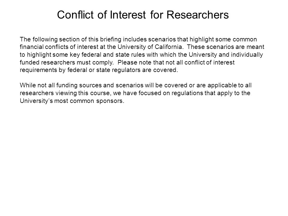 Conflict of Interest for Researchers