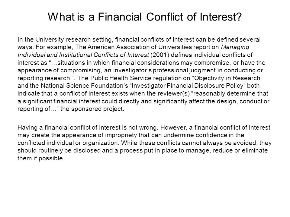 What is a Financial Conflict of Interest