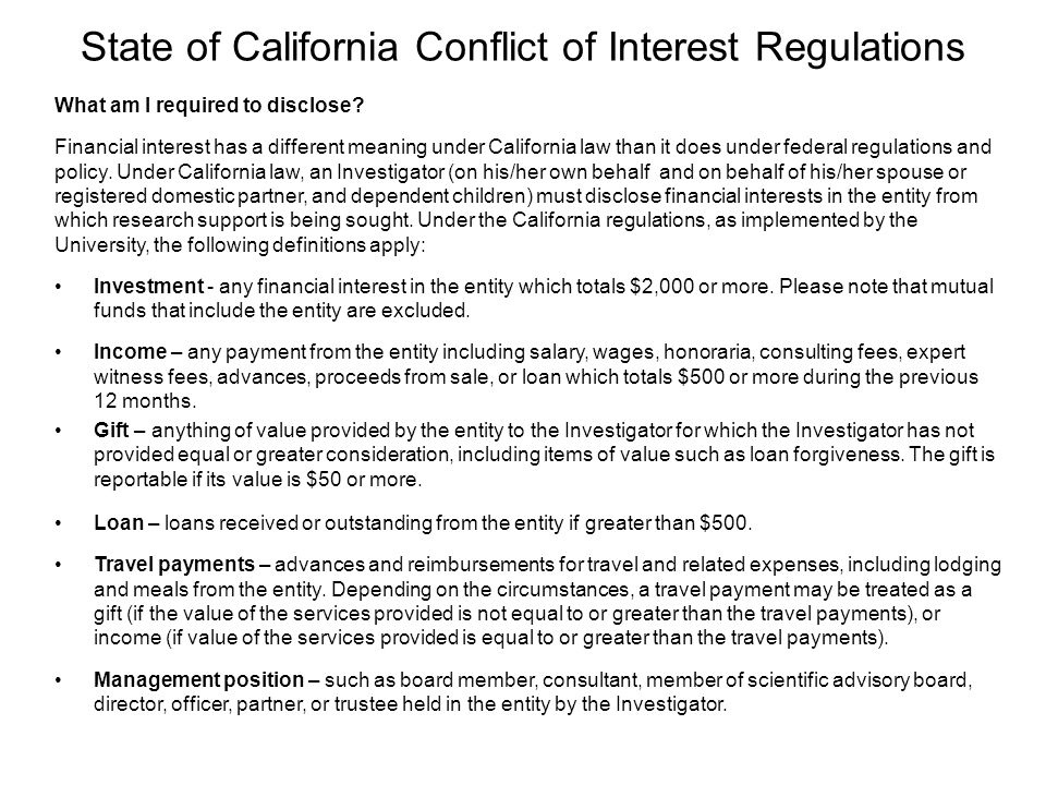 State of California Conflict of Interest Regulations