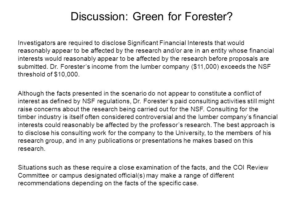 Discussion: Green for Forester