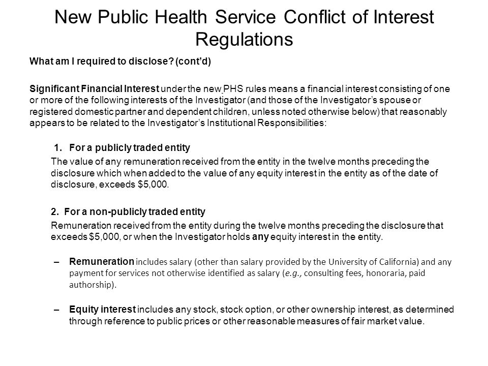 New Public Health Service Conflict of Interest Regulations