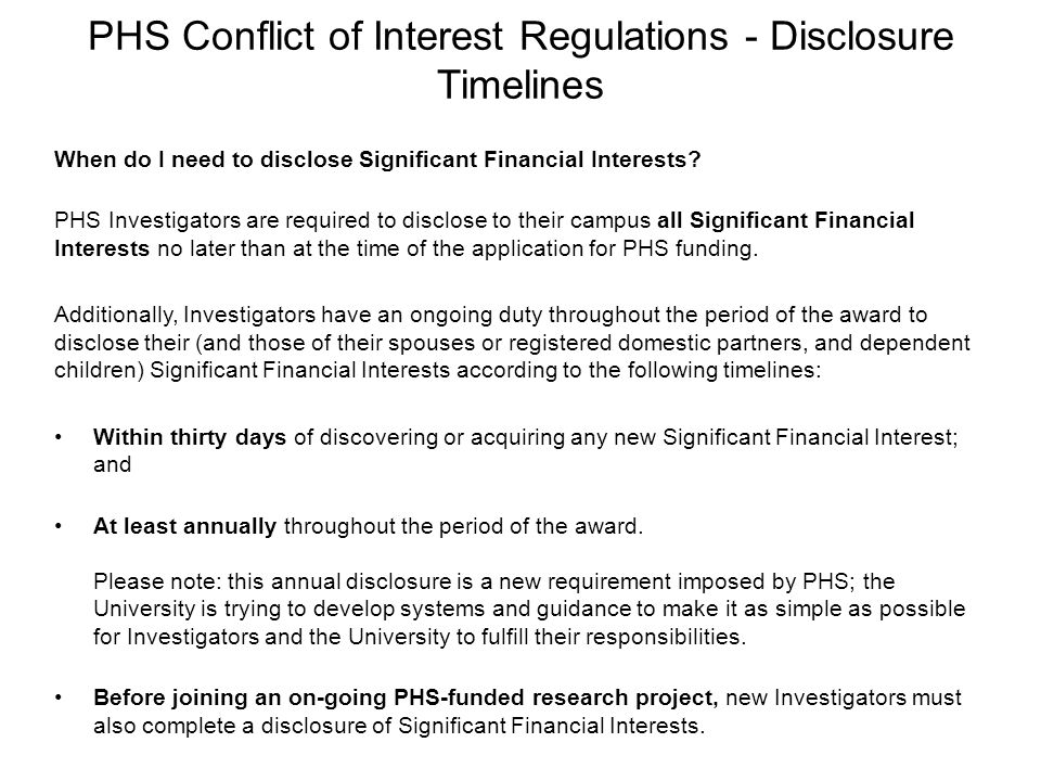 PHS Conflict of Interest Regulations - Disclosure Timelines