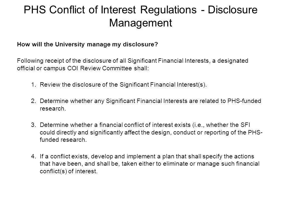 PHS Conflict of Interest Regulations - Disclosure Management