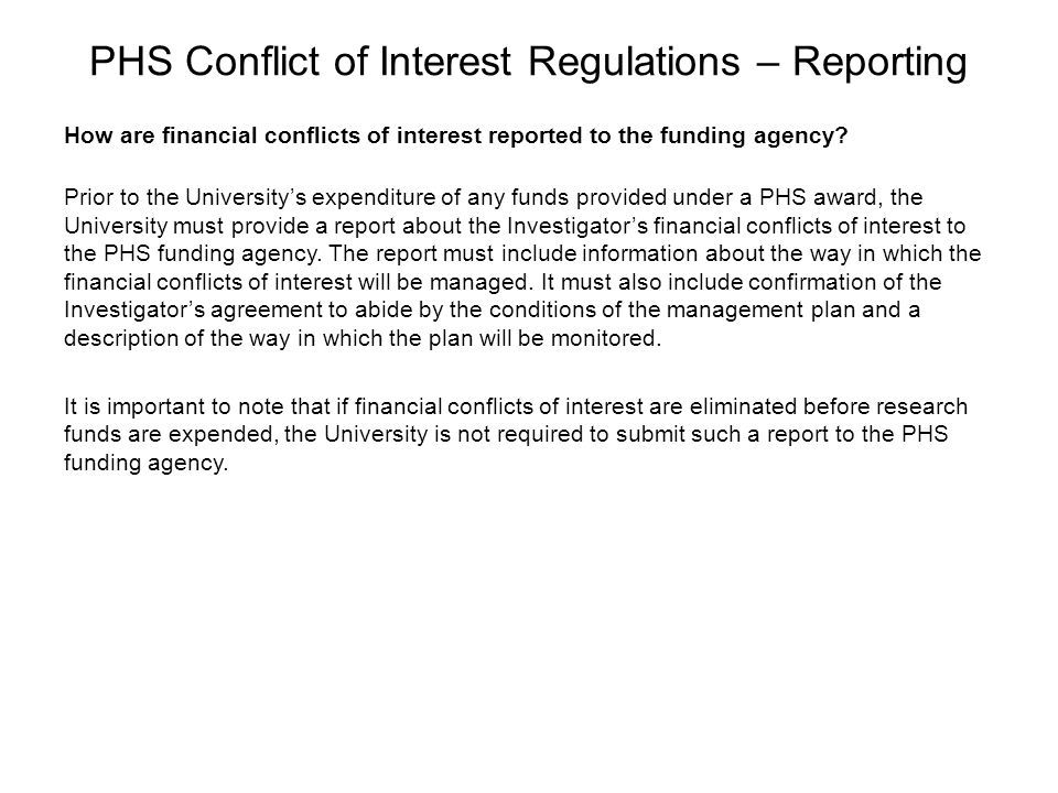 PHS Conflict of Interest Regulations – Reporting