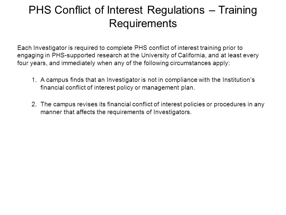 PHS Conflict of Interest Regulations – Training Requirements