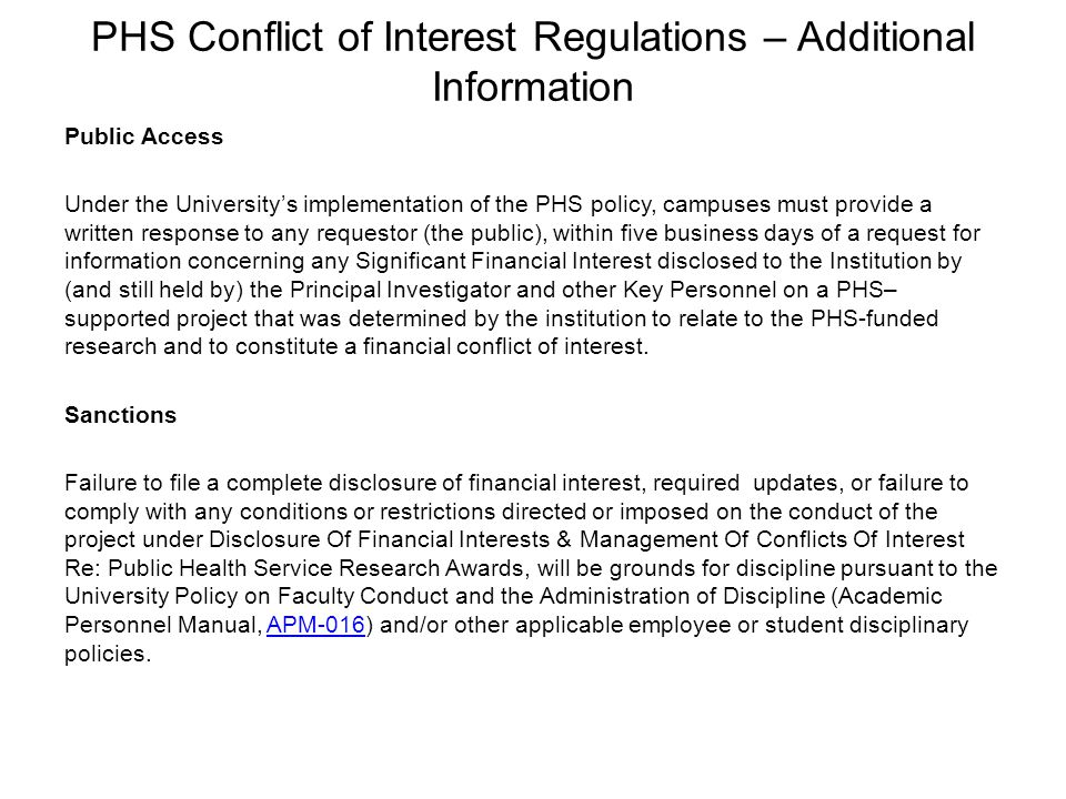 PHS Conflict of Interest Regulations – Additional Information
