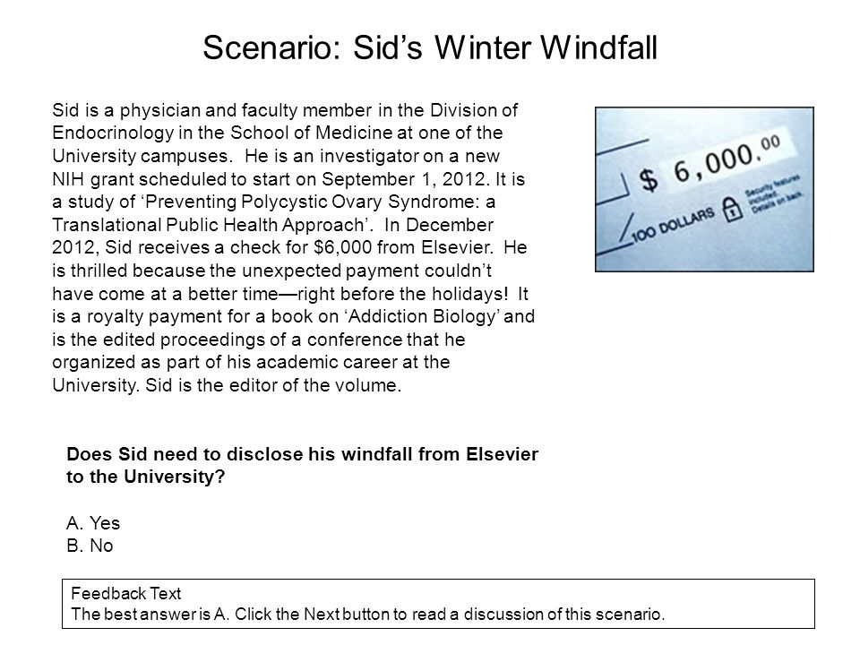 Scenario: Sid's Winter Windfall