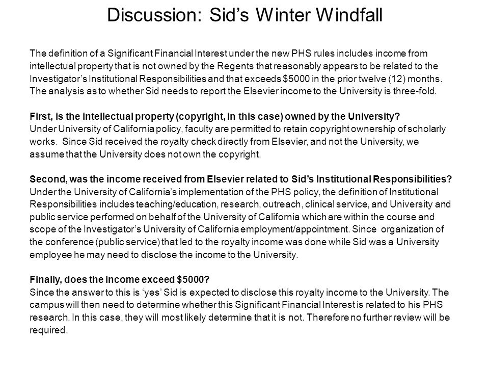 Discussion: Sid's Winter Windfall