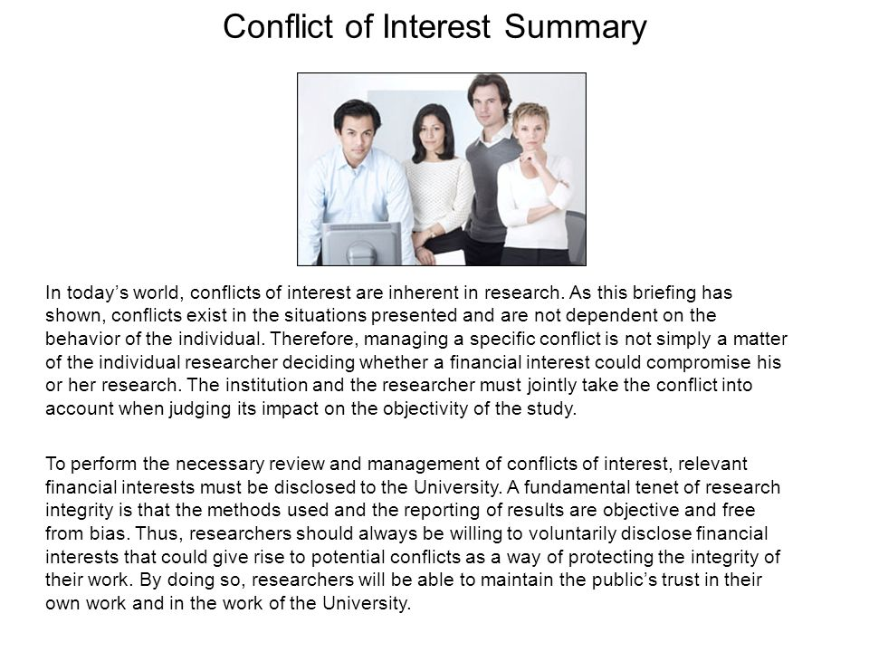 Conflict of Interest Summary