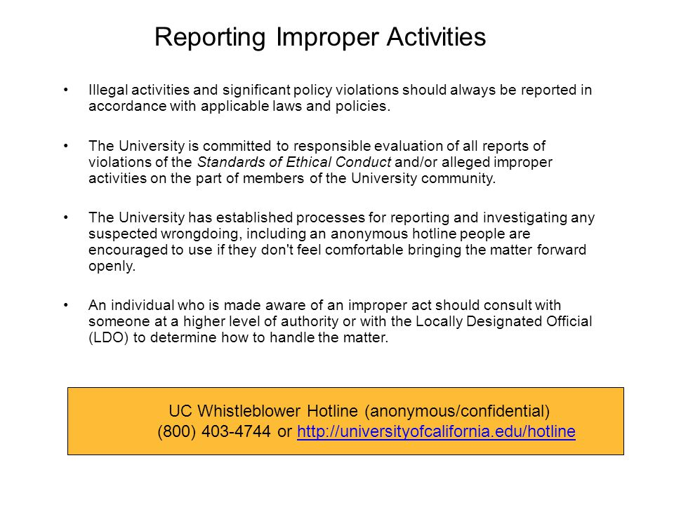 Reporting Improper Activities