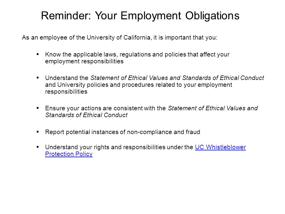 Reminder: Your Employment Obligations