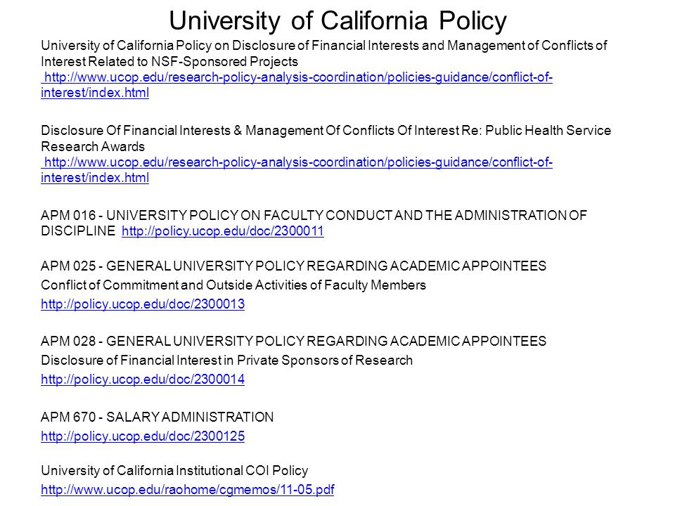 University of California Policy