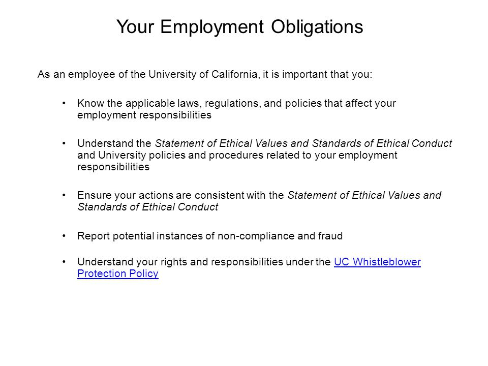 Your Employment Obligations