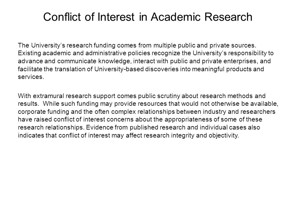 Conflict of Interest in Academic Research
